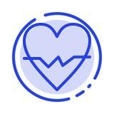 Herz, Liebe, Schlag, Linie Ikone der Haut-blauen punktierten Linie vektor abbildung