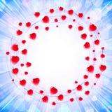 Herz-Liebe Valenitines-Hintergrund-Rahmen-Kreis-Strudel-Karte herum Lizenzfreies Stockbild