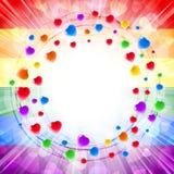 Herz-Liebe Valenitines-Hintergrund-Rahmen-Kreis-Strudel-Karte herum Stockfotografie