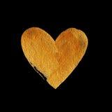 Herz-Liebes-Goldfolien-Aquarell-Beschaffenheits-Farben-Fleck-Zusammenfassungs-Illustration Glänzender Bürstenanschlag für Sie ers Lizenzfreies Stockbild