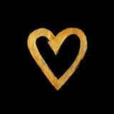 Herz-Liebes-Goldfolien-Aquarell-Beschaffenheits-Farben-Fleck-Zusammenfassungs-Illustration Glänzender Bürstenanschlag für Sie ers Stockfotos