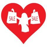 Herz, Mädchen mit dem Einkaufen Ich mag kaufen, Verkäufe stockfotografie