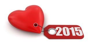 Herz mit Aufkleber 2015 (Beschneidungspfad eingeschlossen) Stockfotografie