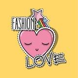 Herz mit Augen und Stern raibow Modeflecken stock abbildung