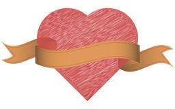 Herz mit Band Weinleseband und Hand gezeichnetes Herz Stockbilder