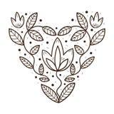 Herz mit Blättern und Blumen Stockfotos