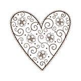Herz mit Blättern und Blumen Stockbilder