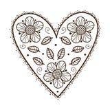 Herz mit Blättern und Blumen Lizenzfreie Stockbilder