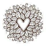 Herz mit Blättern und Blumen Stockbild
