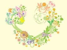 Herz mit Blumentapete Stockfoto