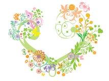 Herz mit Blumentapete Lizenzfreies Stockbild
