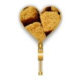 Herz mit brauner Zuckerwürfeln Stockfotos