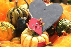 Herz mit einem kleinen Drachen und Kürbisen Stockbild