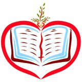Herz mit einem offenen Buch und einem jungen Sprössling, eine Parabel lizenzfreie stockfotos