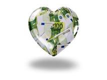 Herz mit 100-Euro - Scheinen Stockfoto