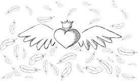 Herz mit Flügeln und Federn herum lizenzfreie abbildung