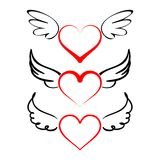 Herz mit Flügelsammlungsvektor Stockbild