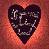 Herz mit Hand gezeichnetem Typografieplakat Romantische Beschriftungszitatabwehr die Datumskarte Stockfotos