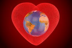Herz mit Kugel Erde innerhalb des Konzeptes, 3D Stockbilder