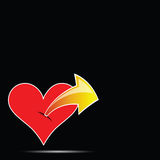 Herz mit Pfeilfarbvektorillustration Lizenzfreies Stockbild