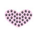 Herz mit Pfotenabdrücken auf weißem Hintergrund Lizenzfreies Stockfoto