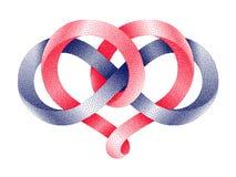 Herz mit Unendlichkeitssymbol punktierten mobius Streifens Ewiges Liebeszeichen Auch im corel abgehobenen Betrag vektor abbildung