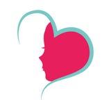 Herz mit weiblicher Profilikone Lizenzfreies Stockbild