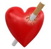 Herz mit Zigarette (Beschneidungspfad eingeschlossen) Vektor Abbildung