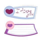 Herz-Papieraufkleber mit der Hand, die ich liebe dich beschriftet Vektor Illust Stockbilder