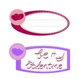 Herz-Papieraufkleber mit Handbeschriftung ist- mein Valentinsgruß Vektor I Stockbilder