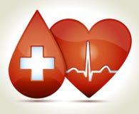 Herz-Rhythmus-Blut-Kreuz-Illustration Lizenzfreies Stockbild