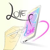 Herz senden Liebe mit Technologiedesignbürste Stockbild