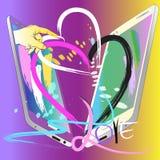 Herz senden Liebe mit Technologiedesignbürste Stockfotos