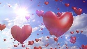 Herz steigt romantisches //1080p und Hochzeits-Videohintergrund-Schleife im Ballon auf stock abbildung