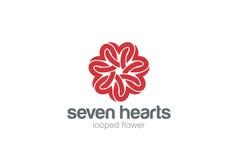 Herz-Stern-Blumen-Logodesign-Vektorschablone St.-Valentinstag von Liebe Partei Kardiologie-medizinisches Gesundheitswesen-Firmenz lizenzfreie abbildung
