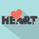 Herz-Typografie mit Herz-Symbol-Design Lizenzfreie Stockbilder