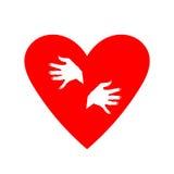 Herz umarmt sich Gefrorenes Herz Stockbild
