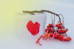 Herz und ein Zweig der Eberesche Lizenzfreie Stockbilder