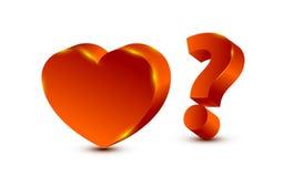 Herz und Fragezeichen Stockbild