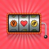 Herz- und Geschlechtszeichen auf Spielautomaten Stockfotos