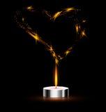 Herz und Kerze Stockbild
