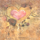 Herz und Rose Vintage Paper Stockbild