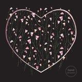 Herz und stilisierter Vektorhintergrund der Rosen Abstrakte gezeichnete Liebesillustration der Blumen Hand Stockfoto