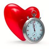 Herz und Stoppuhr auf weißem Hintergrund lizenzfreie abbildung