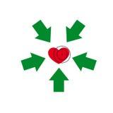Herz unter einem Anblick Stockbild
