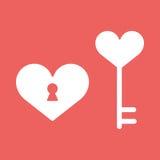 Herz, Verschluss, Ikone in der flachen minimalistic Art Lizenzfreies Stockfoto