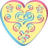 Herz verziert durch Bänder in den rosa-blauen Farben Lizenzfreies Stockbild
