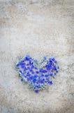 Herz von Blumen auf Weinlesehintergrund Lizenzfreie Stockfotografie