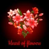 Herz von Blumenlilien auf einem dunkelroten Hintergrund lizenzfreie abbildung