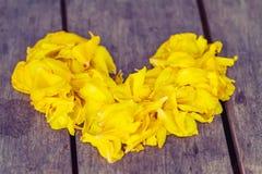 Herz von den gelben Blumen auf Herzform lizenzfreie stockfotografie